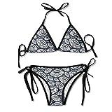 3D Flower Print Rugby Vector Custom Sexy Beach Swimwear Women's Triangle Bralette Bikini Set of 2 Black