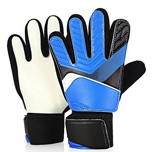 Pingenaneer Fußball-Handschuhe Kinder Jugendliche Torwarthandschuhe mit Fingerschutz/Rutschfest/Verschiedene Größen - Blau M