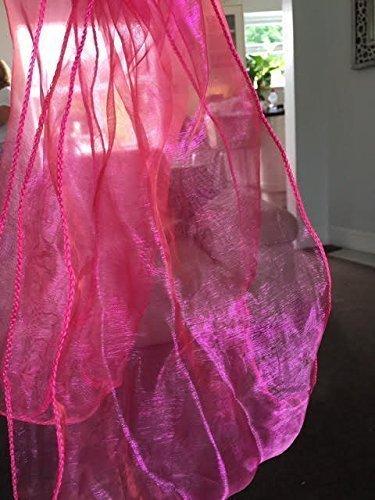 Organza 30cm x 275cm Tischläufer - bunt gefärbt durchsichtig Deckel - für Hochzeiten, Jubiläum, Geburtstag, und andere Celebrations - Formell oder Freizeit Events - Hot Pink, 30cm x 275cm