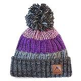 Psychi–Berretto in maglia con pon pon in filato misto, da uomo, donna unisex, di lana, caldo, per inverno, sport, arrampicata, Purple Stripe Bobble