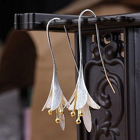Hua Yang Elegant Orchid Party Earrings-925 Sterling Silver Earrings For Women Gift Wedding Engagement Party Earrings
