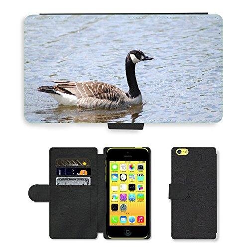 Just Mobile pour Hot Style Téléphone portable étui portefeuille en cuir PU avec fente pour carte//m00138303lac d'eau oiseaux//Apple iPhone 5C