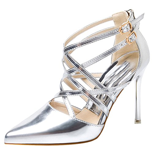 Oasap Women's Pointed Toe High Heels Stiletto Cross Sandals Argent