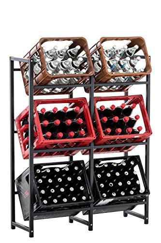EQT-TEC Massiv 6 er Getränkekistenständer Getränke Kisten Ständer Küche Gastronomie Aufbewahrung Flaschen 6 Küche