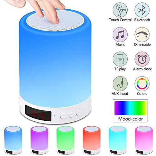 PROJECTOR F LED Bluetooth Lautsprecher Wecker Lampe, Kabellos Nachtlampe Touch Sensor, Nachttischlampe Farbwechsel Player Weihnachten Hochzeitstag Geschenk