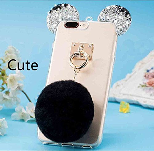 iPhone X Shell, Cute Bear Mouse Shiny Diamond Ear Clear Slim Cover With Soft Hanging Hairball, TAITOU Beautiful Flurry Wool Villi Ball Pendant Thin Transparent Phone Case For Apple iPhone X Rose BBlack