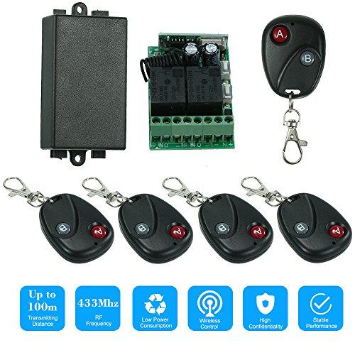 OWSOO Control Remoto Universal Inalámbrico Módulo de Receptor 433Mhz DC 12V 2CH 10A y 5PCS 2 Claves RF 433 Mhz Mandos a Distancia del Transmisor 1527 Chip Automatización del Hogar Inteligente