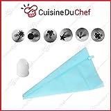 ✮ CuisineDuChef ✮ Poche à douille silicone | 6 embouts en inox | Kit pour pâtisserie, gâteaux, crèmes, verrines, meringues | Poche souple et réutilisable | Idéal décoration & DIY