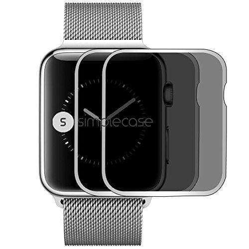 simplecase Gebogenes/Curved Premium Displayschutz-Glas für Apple Watch 42mm - 9H Panzer-Glasfolie aus Echtglas/Verbundglas/Panzerglas - Deckt Ganzes Display ab - Transparent - 2 Stück