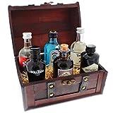 Famous Gin Geschenk-Collection - 6 Gin-Flaschen in einer schönen Piraten-Schatzkiste als tolles Party-Geschenk