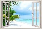 3D-Wandbild Geöffnetes Fenster - großformatig aus hochwertigem Vinyl - wiederverwendbar - Wandaufkleber - Hochwertige Aufkleber - Wandtattoo Fenster - 3D Fototapete Strand und Meer 85 x 115 cm