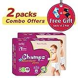 #6: Champs High Absorbent Premium Pant Style Diaper (Pack of 2)(Free 2-Pair Socks)| Premium Pant Diapers | Premium Diapers | Premium Baby Diapers | anti-rash and anti-bacterial diaper | (Large, 48)