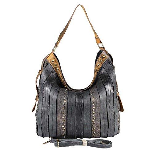 OBC DAMEN TASCHE HANDTASCHE Hobo Bag Schultertasche Nietentasche Shopper Strasssteine Umhängetasche Henkeltasche Beuteltasche Schwarz (Handtasche Bag Body)
