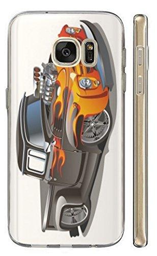 Hülle für Nokia 6 (2017) Hülle Softcase TPU Handyhülle für Nokia 6 Modell 2017 Cover Backkover Schutzhülle Slim Case (215 Auto Pick Up Schwarz Orange Retro)