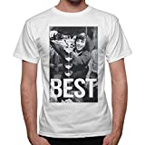 thedifferent T-Shirt Uomo George Best Bicchieri Champagne Bomber Vintage - Bianco