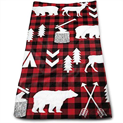 Osmykqe Buffalo Plaid Woodland Christmas Winter Microfiber Bath Towels,Soft, Super Absorbent and Fast Drying, Antibacterial, Use for Sports, Travel, Fitness, Yoga Besten Bikes Buffalo