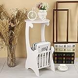 yinmake Sofa Ende Tisch DIY Modern Design Home Innendekoration rund Beistelltisch Couchtisch mit Speicher Rack Weiß