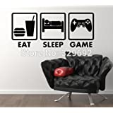 New Controller Joysticks Video Games Eat Sleep Game Xbox Vinyl Decal Home Decor Wall Sticker VInyl Decoration Wall Mural Tx-410 Black
