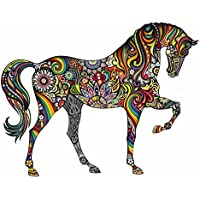 Winhappyhome Cavallo Colorato Arte Wall Stickers Texture per Camera Contesto Del Salone TV Rimovibili Decor (37 Legno Porta Tv)