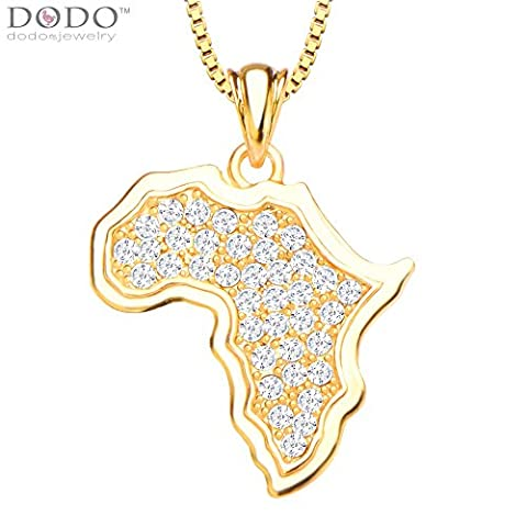 Africa Map Jewelry 18K Gold Plated White Simulated Diamond Pendant Necklace for Women/Men Wholesale P30135