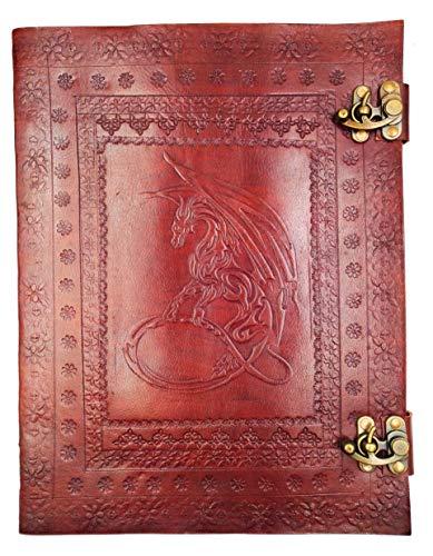 kooly Zen–Cuaderno, periódico, libro, álbum, libro de oro, bloc notas, cuaderno de dibujo o de bocetos, scrapbook, Grimoire, piel auténtica, doble cierre, Dragon, 25cm * 33cm, papel Premium