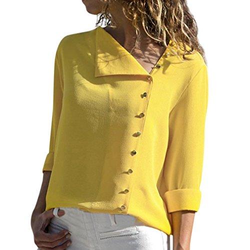 TEBAISE 2018 Ausverkauf Frauen Büro Oktoberfest Party offenen Kragen Elegante Formale Casual Revers Neck T-Shirt Damen Langarm Schnalle Bluse Tops Gelb 48 DE/XL CN -
