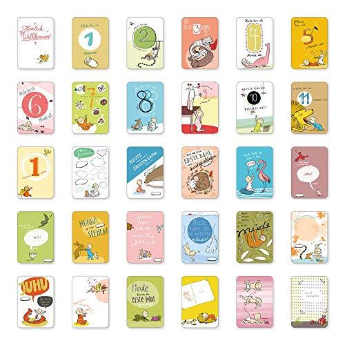 Mein 1. Kalender, 30 Baby Meilenstein Karten, Geschenkidee zur Geburt, Schwangerschaft, Taufe oder Babyparty, Milestone Baby Cards, Meilensteinkarten Baby, 10x15 cm
