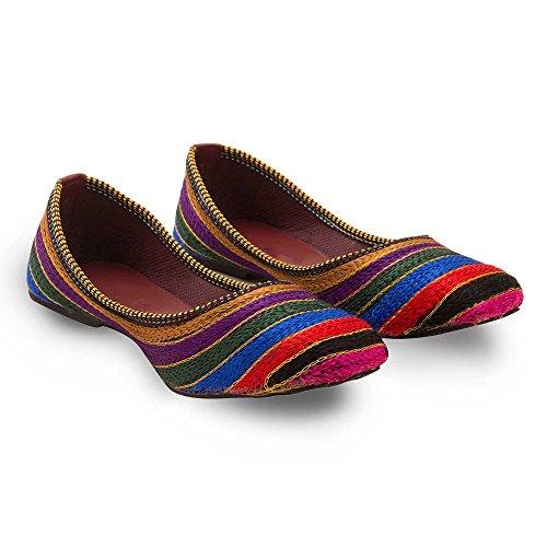 2dots Femme resham Zari travail Royal Ballerine Sandales multicouleur - Multi-color