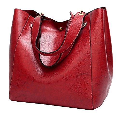 Molodo Damen Satchel Hobo Top Griff Tote Leder-Handtasche Entwerfer-Schulter-Geldbeutel-Bucket Bag Umhängetasche X-Large Weinrot -