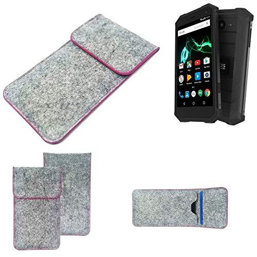 K-S-Trade® Filz Schutz Hülle Für -Archos Saphir 50X- Schutzhülle Filztasche Pouch Tasche Case Sleeve Handyhülle Filzhülle Hellgrau Pinker Rand