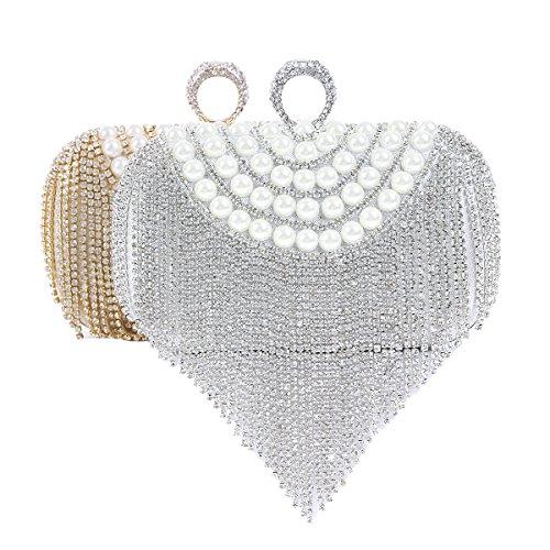 Damara Damen Ring Quaste Schmückend Perlen Strasssteine Klein Clutch Handtasche,Silber Silber
