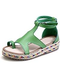 Ochenta Zapatillas de Moda Sandalias Alpargatas Abierto de Plataforma Tobillo Mujer