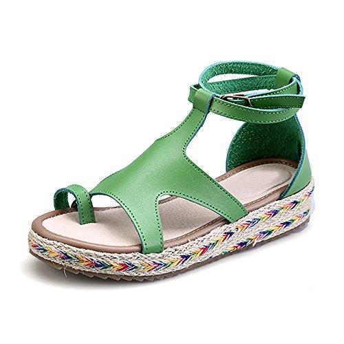 Zapatillas de Moda Sandalias alpargatas abierto de plataforma Tobillo mujer Verde 38