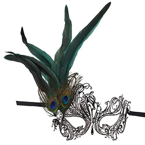 Thmyo Máscara de la Mascarada de Las Plumas del Pavo Real del Rhinestone, máscara Veneciana del Baile del Metal del Corte del Laser (Estilo 2)