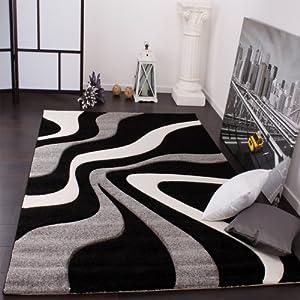 Paco Home Designer Teppich mit Konturenschnitt Wellen Muster Schwarz Grau Weiss, Grösse:120x170 cm