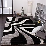 Alfombra De Diseño Perfilado - Estampado De Ondas - Negro Gris Blanco, Grösse:60x110 cm