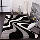 Designer Carpet With Contour Cut And A Wave Pattern In Black Grey And White, Size:60x110 cm