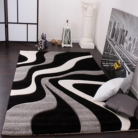 Tapis De Créateur Aux Contours Découpés Motif Vagues En Gris Noir Blanc, Dimension:80x150 cm