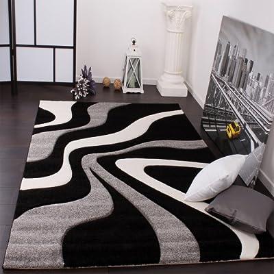 Paco Home Tappeto di Design Motivo Ondulato Orlo Lavorato A Mano nei Colori Nero Grigio Bianco, Dimensione:60×110 cm