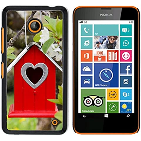 NOKIA Lumia 630 , Cassa Cover Guscio Di Plastica (Albero Fiori ramo Birdhouse Parallax)