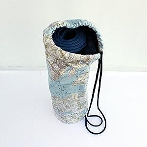 Mochila – Bolsa de yoga – 'La vuelta al mundo' – Hecha a mano en lona y algodón, con mosquetón interior, para llevar la esterilla de pilates o yoga