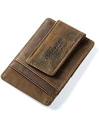 Portatarjetas magnético de cuero verdadero con clip de dinero marrón