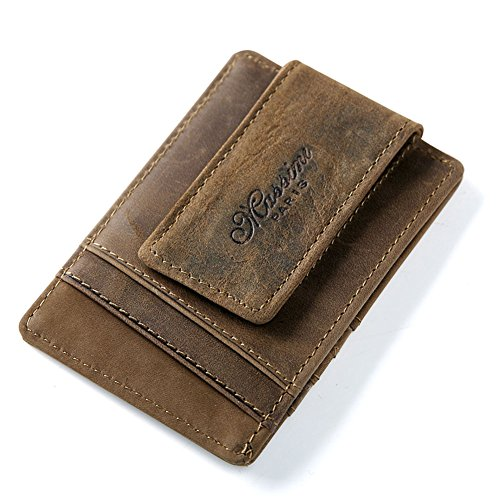 Money Clip for Men Slim RFID Blocking Leather Mens Wallet Women Front Pocket Credit Card Wallet Contactless Card Protection Minimalist Card Holder(Small Coffee) -