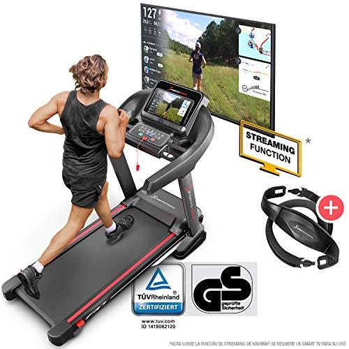 Sportstech F37 Cinta Correr Plegable Profesional con certificación TÜV/GS, Velocidad hasta 20 km/h,Sistema de amortiguación de hasta 150 kg, inclinación del 15%, App. Kinomap Comp, MP3