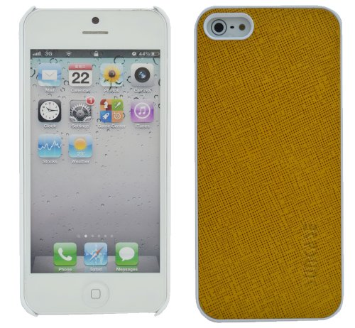 Original SunCase ® Leder-Schale (Handy-Cover) für Apple iPhone SE / iPhone 5S / iPhone 5 in argyle-antik Vollnarbig-Gelb