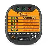 #8: Orange Black : UXCELL Dm6860e Mains Socket Outlet Tester Neutral Live Earth Detection Meter Wall Plug Uk 220V-250V