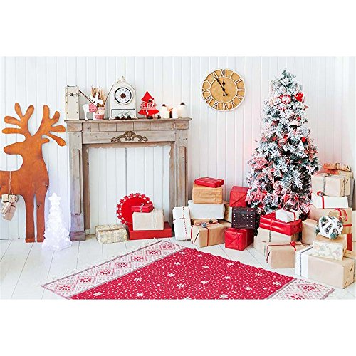 7x 5weiß Photography Hintergrund Urlaub rot Schneeflocke Teppich gelb Elch Weihnachten Hintergrund für Familie (Urlaub Nordpol)