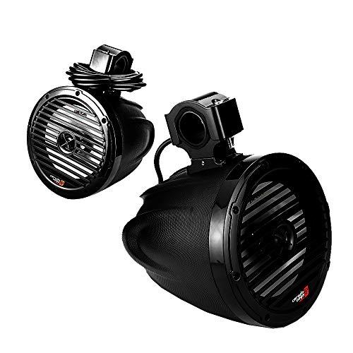 Cerwin Vega VMC8TB 8 Zoll 20cm Marine Tower Koax-Lautsprecher 75W RMS mit RGB-LED, schwarz (Paar) / IP65 - geeignet für Yachten, Boote, Jeeps, Motorrad, UTV, etc