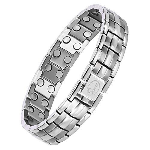 Jeroot Magnetarmband,Reines Kupfer Titan Herren Magnetische Armbänder für Arthritis Verschluss Armband Magnet Herren Gesundheit Magnetarmband Energetix (3500 gauss) (Titan Silber)