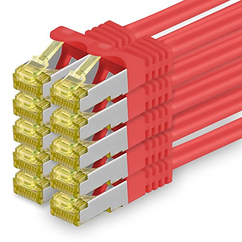 Cat.7 Netzwerkkabel 0,5m - Rot - 10 Stück - Cat7 Ethernetkabel Netzwerk LAN Kabel Rohkabel 10 Gb/s (SFTP PIMF LSZH) Set Patchkabel mit Rj 45 Stecker Cat.6a